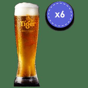 Tiger Biergläser 6 Stück mit je 30 cl